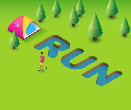 Run event poster. Green Poster template for invitation or event, 3D illustration