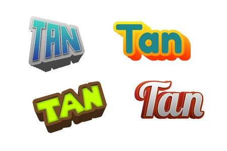 Tan Text for Title or Headline. In 3D Fancy Fun and Futuristic style Stock Photo