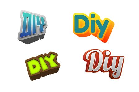 do it: DIY Text for Title or Headline. In 3D Fancy Fun and Futuristic style Stock Photo