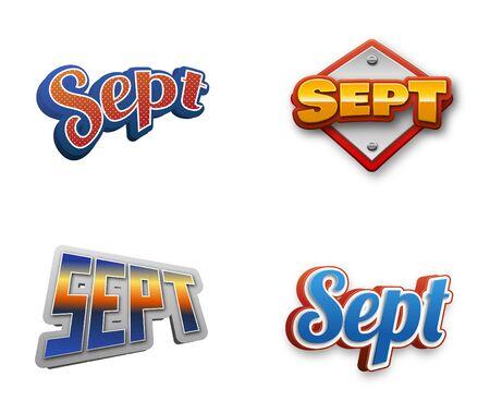 September month text for Calendar Design Stock Photo