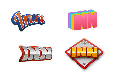 Inn Text for Title or Headline. In 3D Fancy Fun and Futuristic style Stock Photo