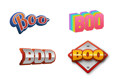 Boo Text for Title or Headline. In 3D Fancy Fun and Futuristic style