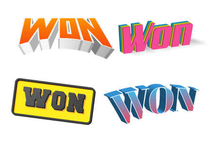Win Text for Title or Headline. In 3D Fancy Fun and Futuristic style