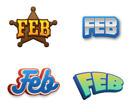 February month text for Calendar Design