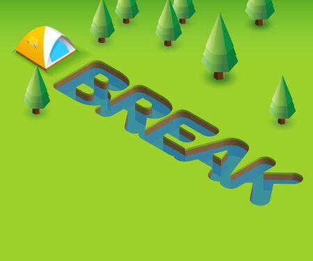 Break. Green Poster template for invitation or event 3D illustration
