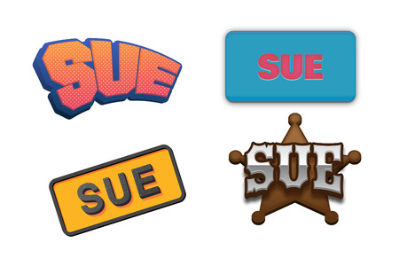 sue: Sue Text for Title or Headline. In 3D Fancy Fun and Futuristic style