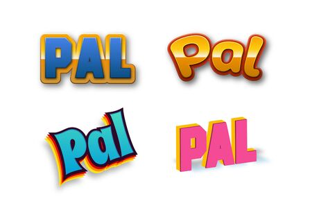 Pal Text for Title or Headline. In 3D Fancy Fun and Futuristic style Stock Photo
