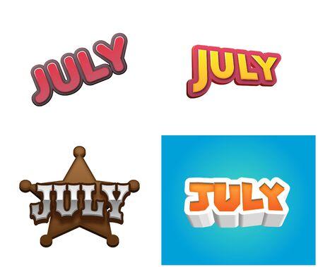 July month text for Calendar Design