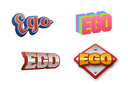 Ego Text for Title or Headline. In 3D Fancy Fun and Futuristic style
