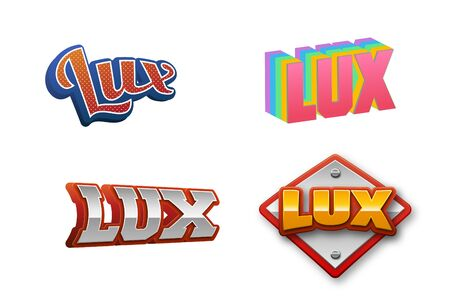 Lux, Text for Title or Headline. In 3D Fancy Fun and Futuristic style