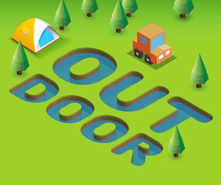 stargaze: Outdoor. Green Poster template for invitation or event, 3D illustration