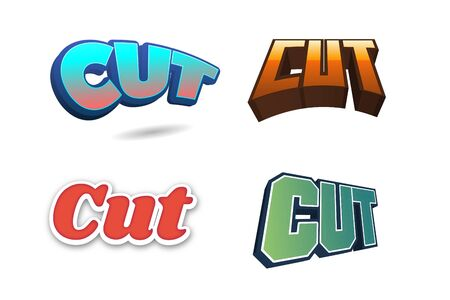 Cut Text for Title or Headline. In 3D Fancy Fun and Futuristic style
