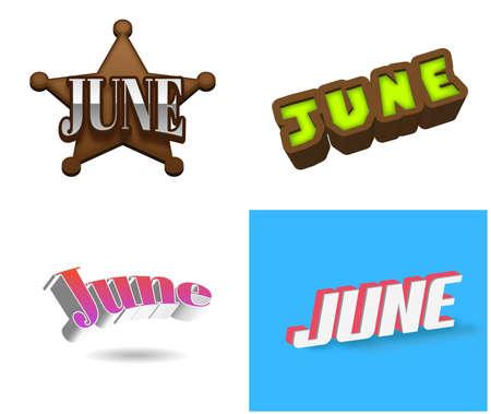 June month text for Calendar Design