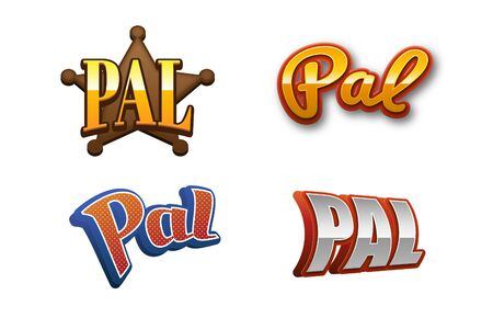 pals: Pal Text for Title or Headline. In 3D Fancy Fun and Futuristic style Stock Photo
