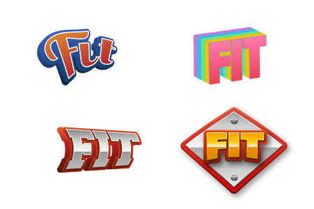 Fit Text for Title or Headline. In 3D Fancy Fun and Futuristic style