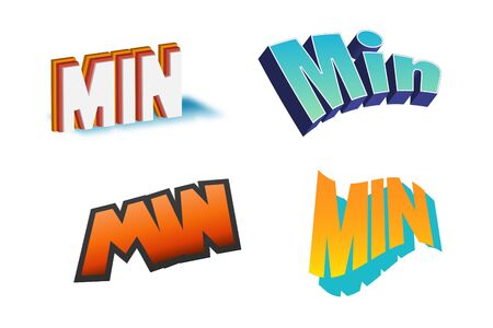 Min Text for Title or Headline. In 3D Fancy Fun and Futuristic style