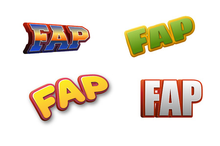Fap Text for Title or Headline. In 3D Fancy Fun and Futuristic style Фото со стока