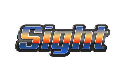 Sight Text for Title or Headline. In 3D Fancy Fun and Futuristic style Stock Photo