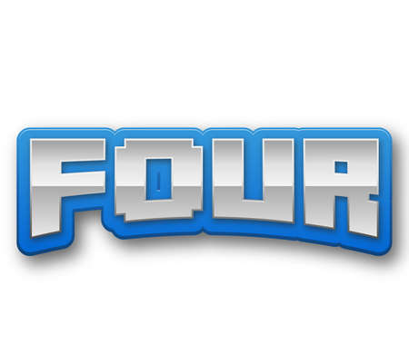 Four 4 Number Text for Title or Headline. In Fancy style