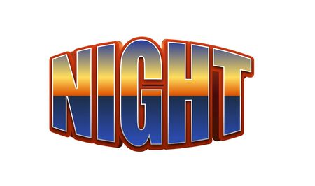 Night Text for Title or Headline. In 3D Fancy Fun and Futuristic style Stock Photo