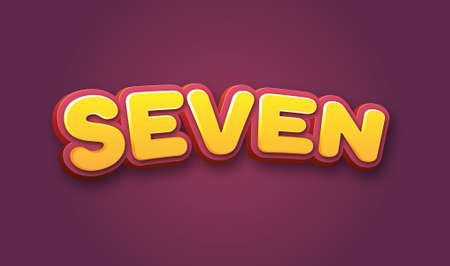 Seven Number Text for Title or Headline. In Fancy Fun style