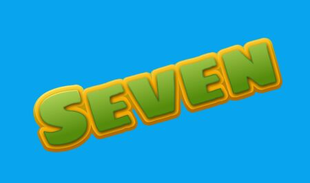 royalty free: Seven Number Text for Title or Headline. In Fancy Fun style