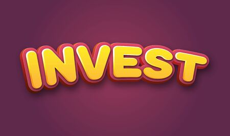 futures: Invest Text for Title or Headline. In 3D Fancy Fun and Futuristic style Stock Photo