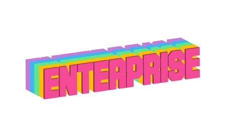 Enterprise Text for Title or Headline. In 3D Fancy Fun and Futuristic style