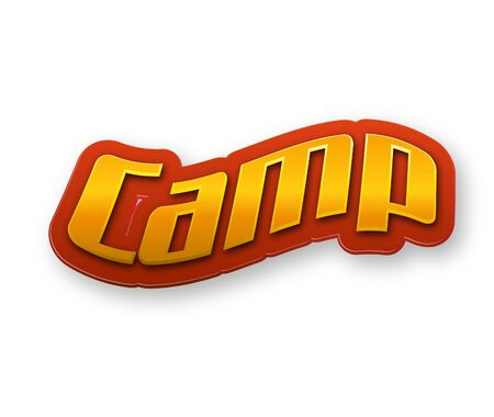 Camp Text for Title or Headline. In 3D Fancy Fun and Futuristic style Stock Photo