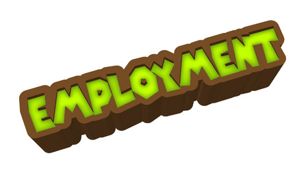 Employment Text for Title or Headline. In 3D Fancy Fun and Futuristic style Stock Photo