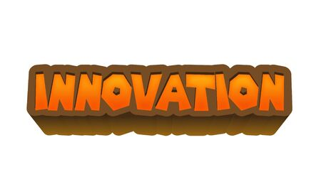 initial: Innovation Text for Title or Headline. In 3D Fancy Fun and Futuristic style