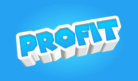 Profit Text for Title or Headline. In 3D Fancy Fun and Futuristic style