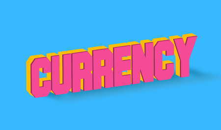 initial: Currency Text for Title or Headline. In 3D Fancy Fun and Futuristic style