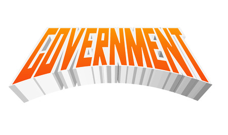 initial: Government Text for Title or Headline. In 3D Fancy Fun and Futuristic style Stock Photo