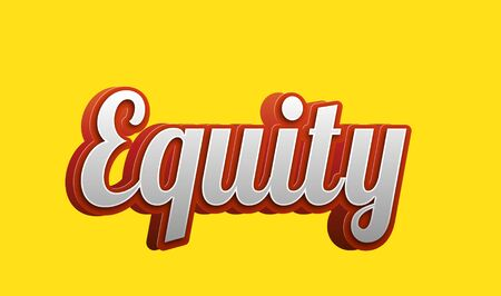 Equity Text for Title or Headline. In 3D Fancy Fun and Futuristic style Stock Photo