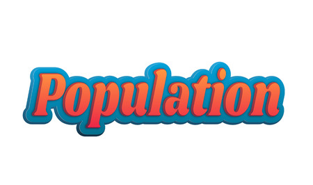 Population Text for Title or Headline. In 3D Fancy Fun and Futuristic style Stock Photo