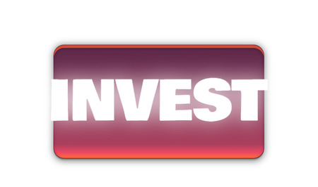Invest Text for Title or Headline. In 3D Fancy Fun and Futuristic style Stock Photo
