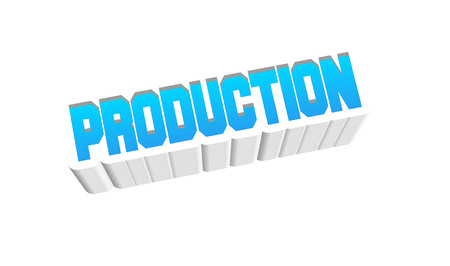 Production Text for Title or Headline. In 3D Fancy Fun and Futuristic style Stock Photo