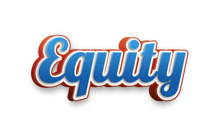 equidad: Equity Text for Title or Headline. In 3D Fancy Fun and Futuristic style Foto de archivo