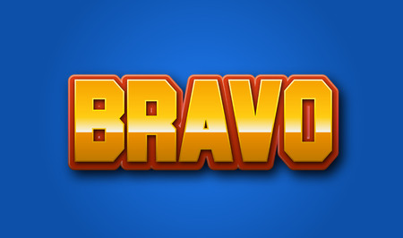 bravo: Bravo Text for Title or Headline. In 3D Fancy Fun and Futuristic style Stock Photo