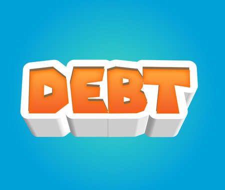 Debt Text for Title or Headline. In 3D Fancy Fun and Futuristic style