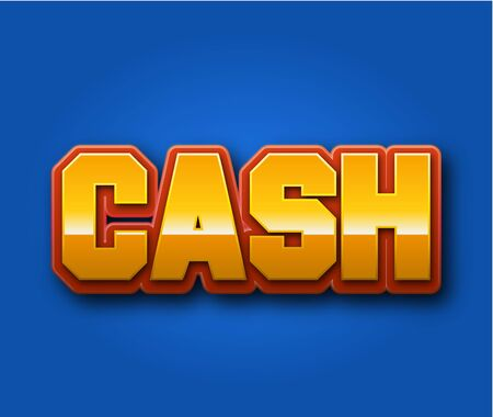 Cash Text for Title or Headline. In 3D Fancy Fun and Futuristic style Stock Photo
