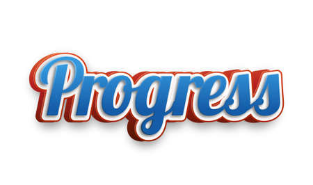 Progress Text for Title or Headline. In 3D Fancy Fun and Futuristic style