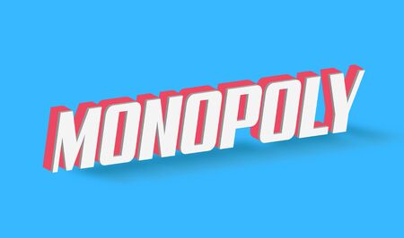 monopolio: Texto del monopolio para el título o título. En 3D Fancy Fun y estilo futurista Foto de archivo