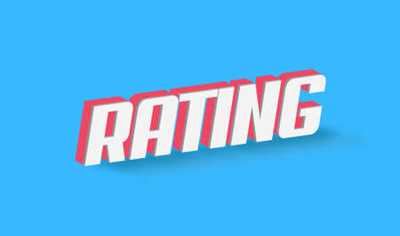 Rating Text for Title or Headline. In 3D Fancy Fun and Futuristic style Stock Photo