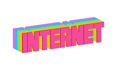 Internet Text for Title or Headline. In 3D Fancy Fun and Futuristic style