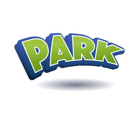 Park Text for Title or Headline. In 3D Fancy Fun and Futuristic style