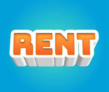 Rent Text for Title or Headline. In 3D Fancy Fun and Futuristic style Stock Photo