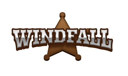 Windfall Text for Title or Headline. In 3D Fancy Fun and Futuristic style Stock Photo