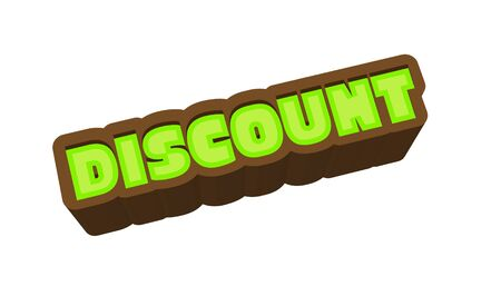 Discount Text for Title or Headline. In 3D Fancy Fun and Futuristic style Stock Photo